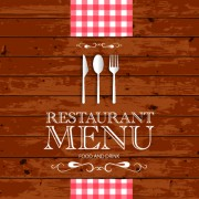 Link toRestaurant menu with wood board background vector 02 free