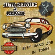 Link toRetro auto service and repair poster vector 01 free