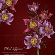 Link toRetro background with floral vector 02 free