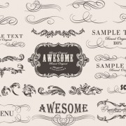 Link toRetro calligraphic frame labels decor vector 01 free