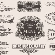 Link toRetro calligraphic frame labels decor vector 02 free