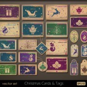 Link toRetro christmas card and tags vector
