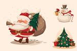 Link toRetro christmas illustration vector