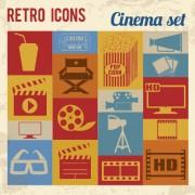 Link toRetro cinema flat vector icons free
