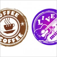 Link toRetro coffee and music theme circular pattern vector