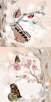 Link toRetro flower butterfly vector free