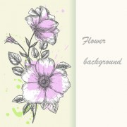 Link toRetro hand drawn flowers background design 01 free