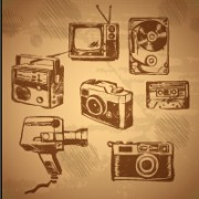 Link toRetro hand drawn recorder with tv and camera vector patterns free