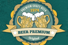 Link toRetro premium beer ribbon tag vector