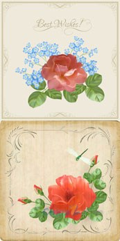Link toRetro romantic flower cards vector