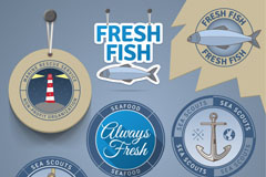Link toRetro seafood sale tag vector