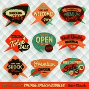Link tovector 01 labels bubble speech style Retro