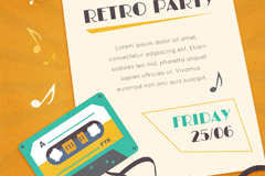 Retro tape party poster vector graphics