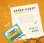 Retro tape party poster vector