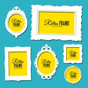 Link toRetro yellow with white photo frame vector free