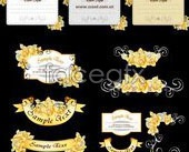 Link toRibbon cards with hand-painted flowers vector yellow