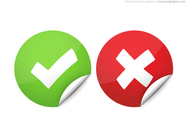Right and wrong check marks psd