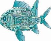 Link toRobot fish innards vector