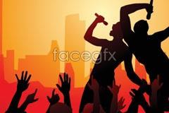 Link topeople vector silhouette concert Rock