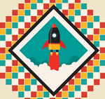 Rocket launch paintings vector