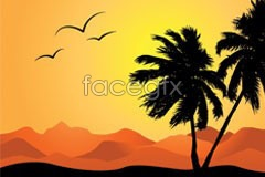 Link tovector silhouette tree palm and mountains and hills Rolling