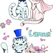 Link toRomantic cat creative vector free