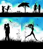 Link toRomantic couple silhouettes vector