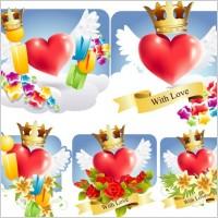 Link toRomantic love pattern vector
