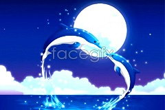 Link tovector dolphin moonlight Romantic