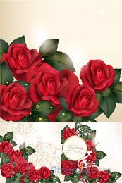 Link toRomantic roses vector background designs