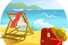 Romantic summer seaside vector