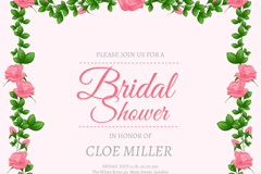 Rose bridal shower invitation poster vector graphics