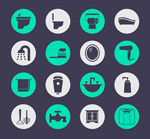 Round bath products icon vector