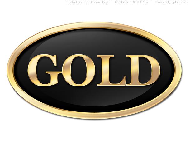 Link toRound gold button, psd label template