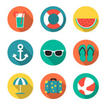 Round holiday icons vector