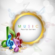 Link toRound lace frame music background vector free