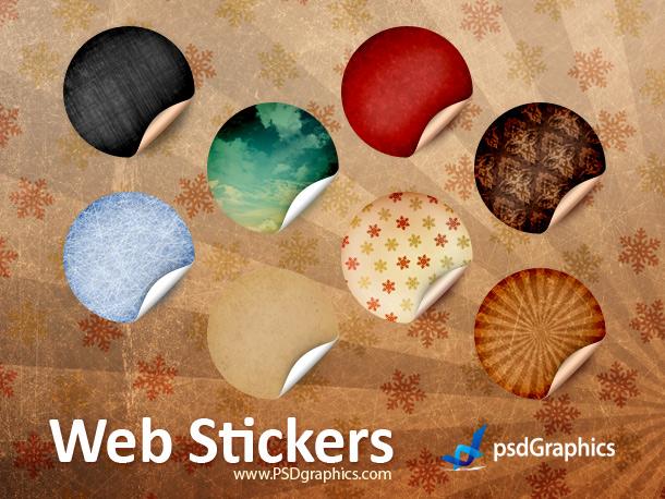 Link toRound retro stickers, psd template