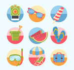 Round summer icons vector