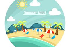 Link toRound the beach scenery vector illustration