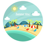 Rounded beach landscapes illustrations vector
