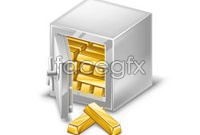 Link toSafety deposit box gold vector graphics