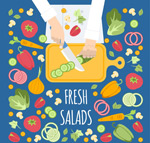 Salad making illustrations vector