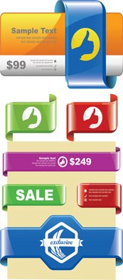 Link toSale ribbon tags design vector templates