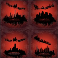 Link toSanta claus flying silhouette vector