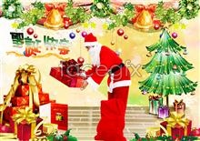 Link toSanta with gifts of psd