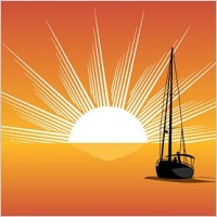 Link toSea sunset sailboat silhouette vector