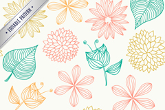 Link toSeamless leaves background painted flowers vector