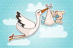 Link toSent cranes and baby stickers vector