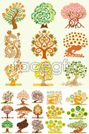 Set of creative cartoon tree vector