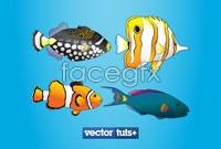 Seven species of tropical marine fish, vector